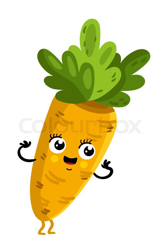 cute vegetable carrot cartoon character isolated on white background