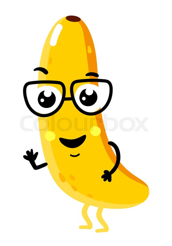 Cute Fruit Banana Cartoon Character Isolated On White Background