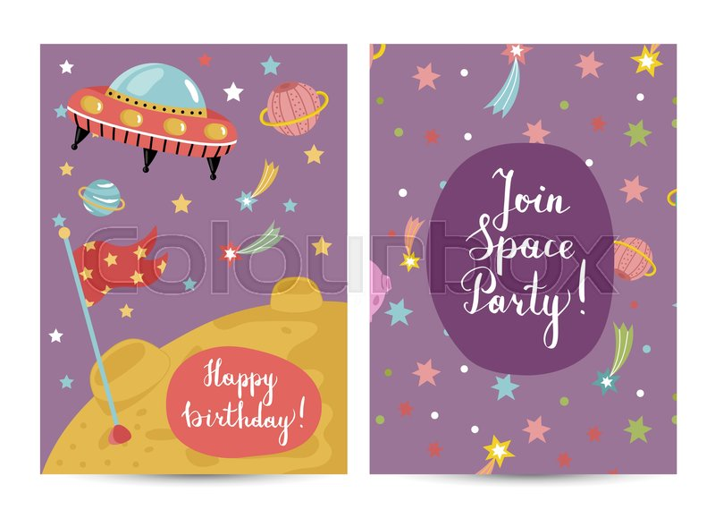 Happy Birthday Cartoon Greeting Card On Space Theme Alien Spaceship