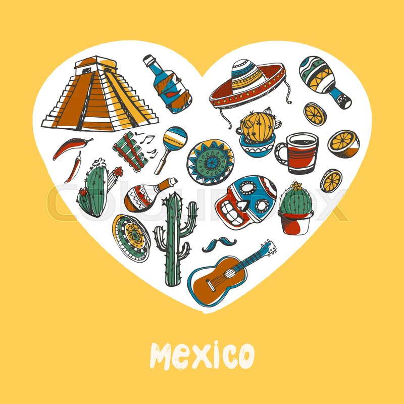 Love Mexico White Heart Filled With Mexican Culture Related Vintage