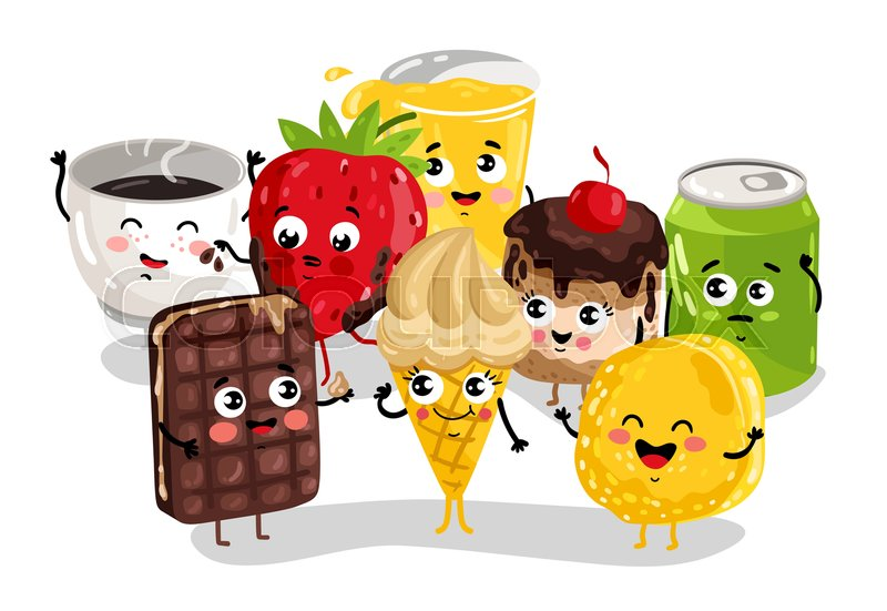 drink sweet cartoon funny character face coffee cup vector cookies happy soda emoticon ice cream colourbox studioworkstock cola isolated icon