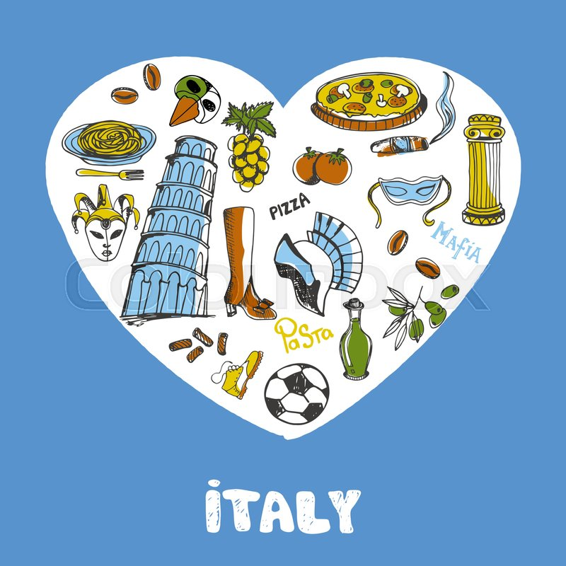 Love Italy White Heart Filled With Vintage Doodles Related With
