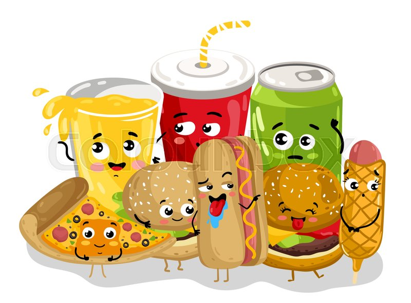 cartoon food fast cute funny menu drink character background burger dog pizza soda snack illustration icon face happy isolated vector