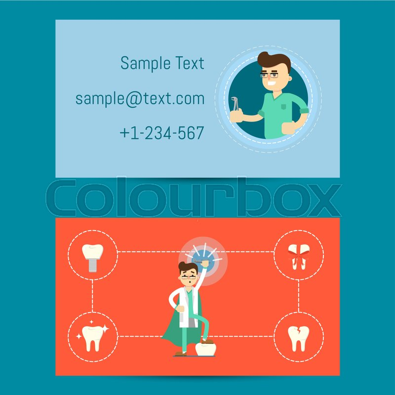 Professional business card template for dentists with cartoon man in ...