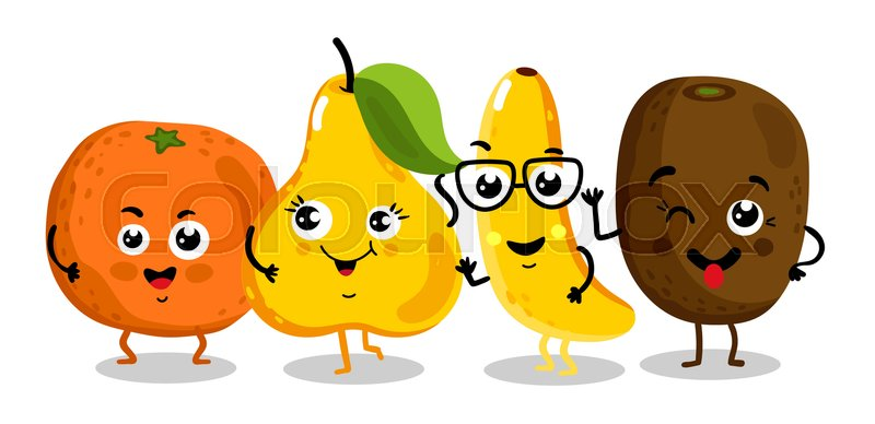 Cute Fruit Cartoon Characters Isolated On White Background Vector