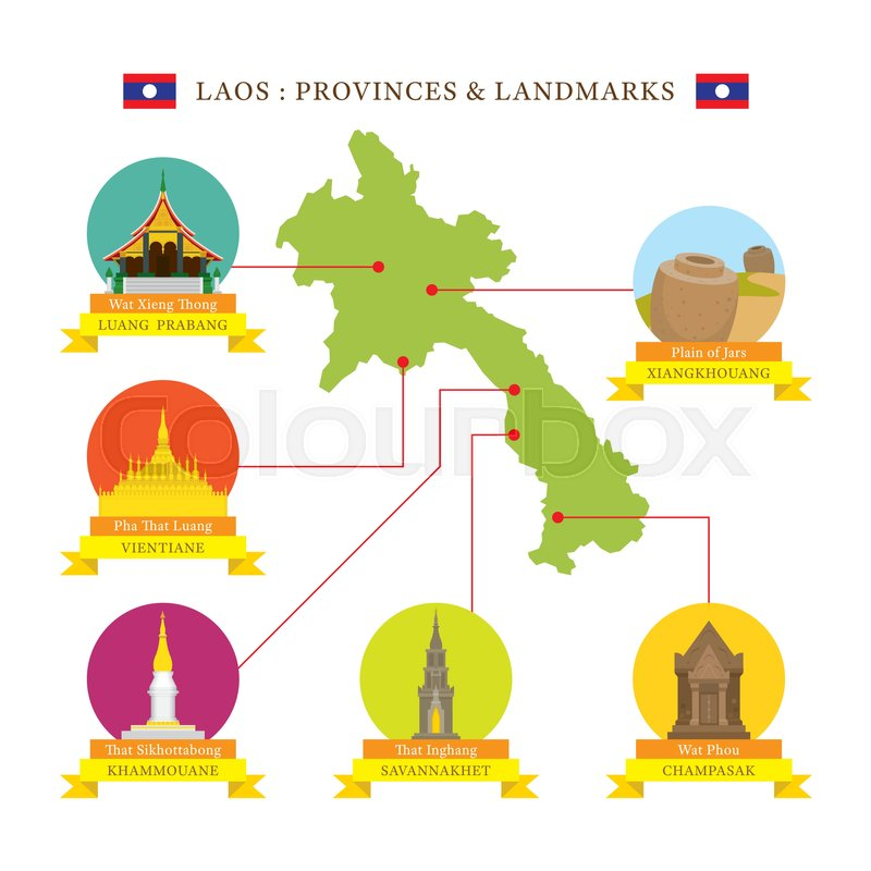 Laos Provinces And Landmarks Icons With Map Stock Vector Colourbox - Laos map vector