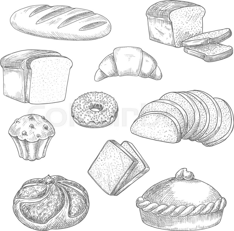 Bread Sketch Vector Isolated Icons Of Stock Vector Colourbox