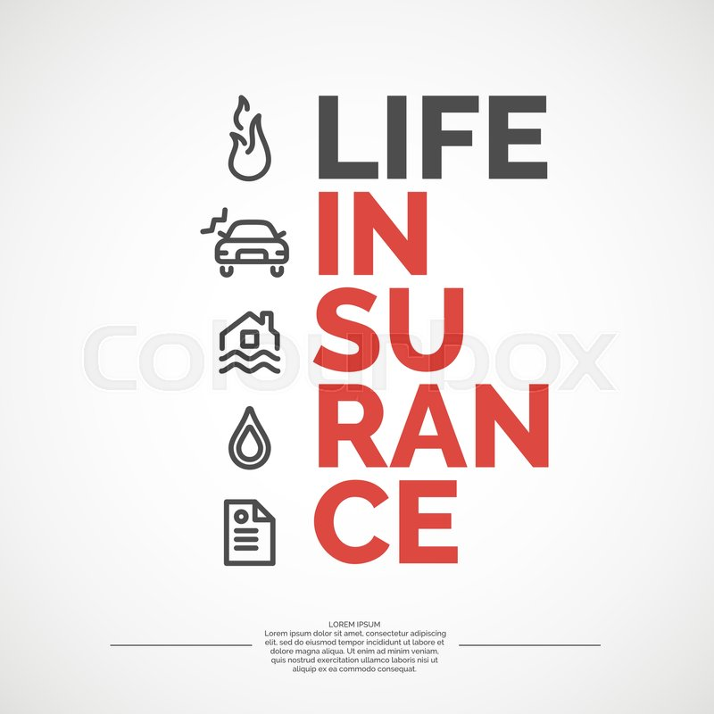 Life Insurance Poster. Conceptual Banner Life Insurance And Property. |  Stock Vector | Colourbox