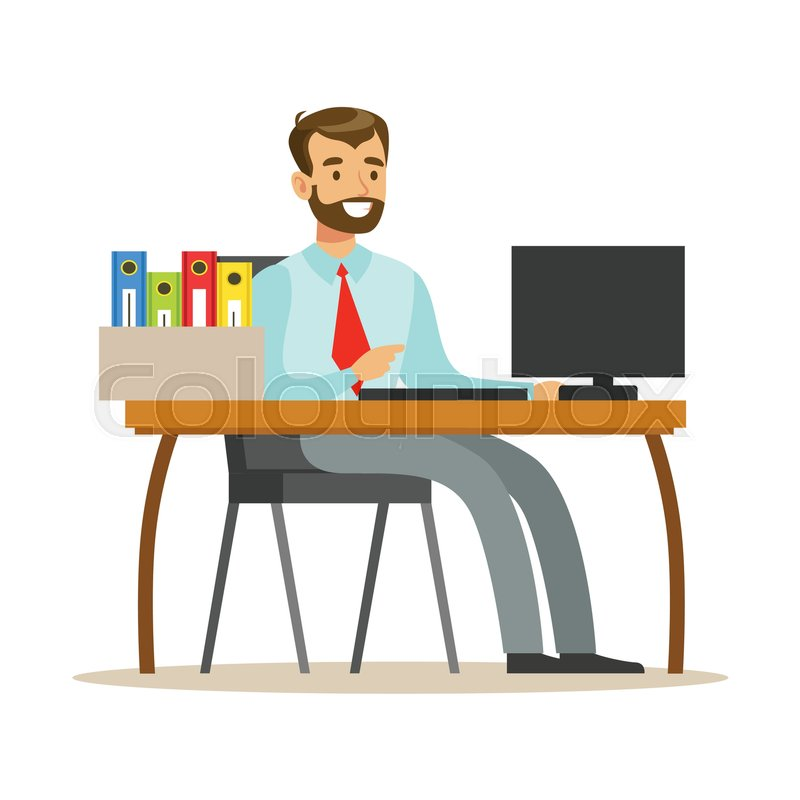 man working at his desk with computer stock vector