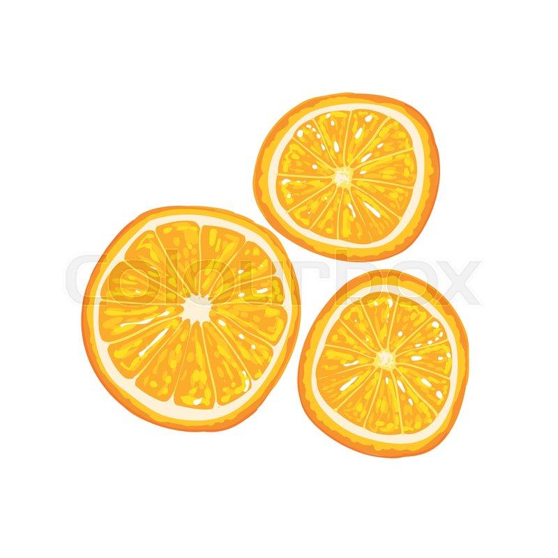 Half Of Orange Fruit And Orange Slice     | Stock vector