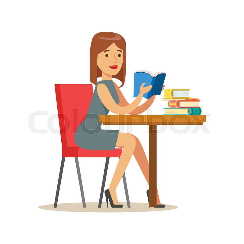 Woman Reading A Book At The Table Smiling Person In The