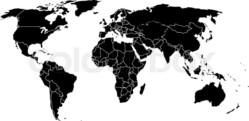 Flat World Map Vector.Blank Black Like A World Map On A Stock Vector Colourbox