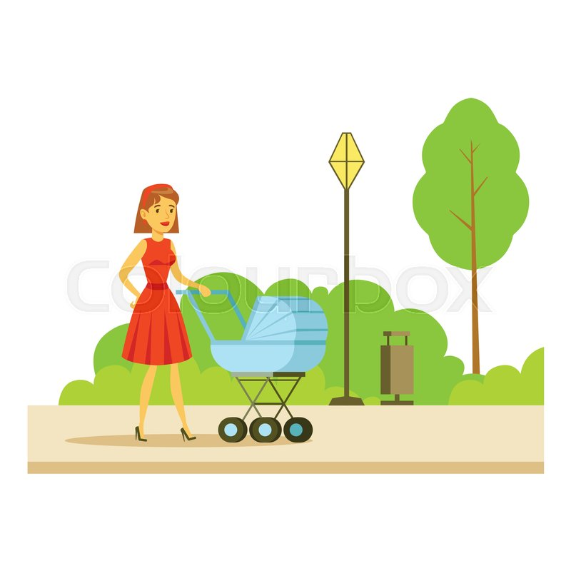 Young Mother Walking WIth The Baby In The Stroller, Part Of People In The Park Activities Series. Smiling Characters Outdoors Pastime Bright Illustration With Green Scenery On Background, vector