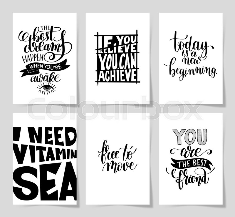 set of 6 hand written lettering positive inspirational quote posters