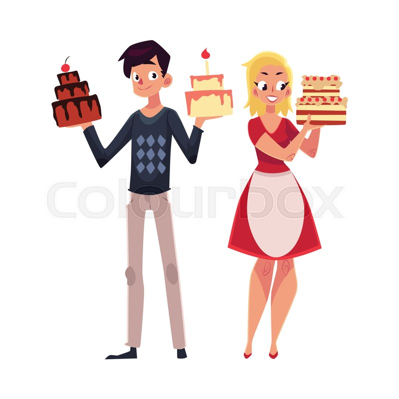Young Couple Parent Man And Woman Holding Birthday Cakes Getting