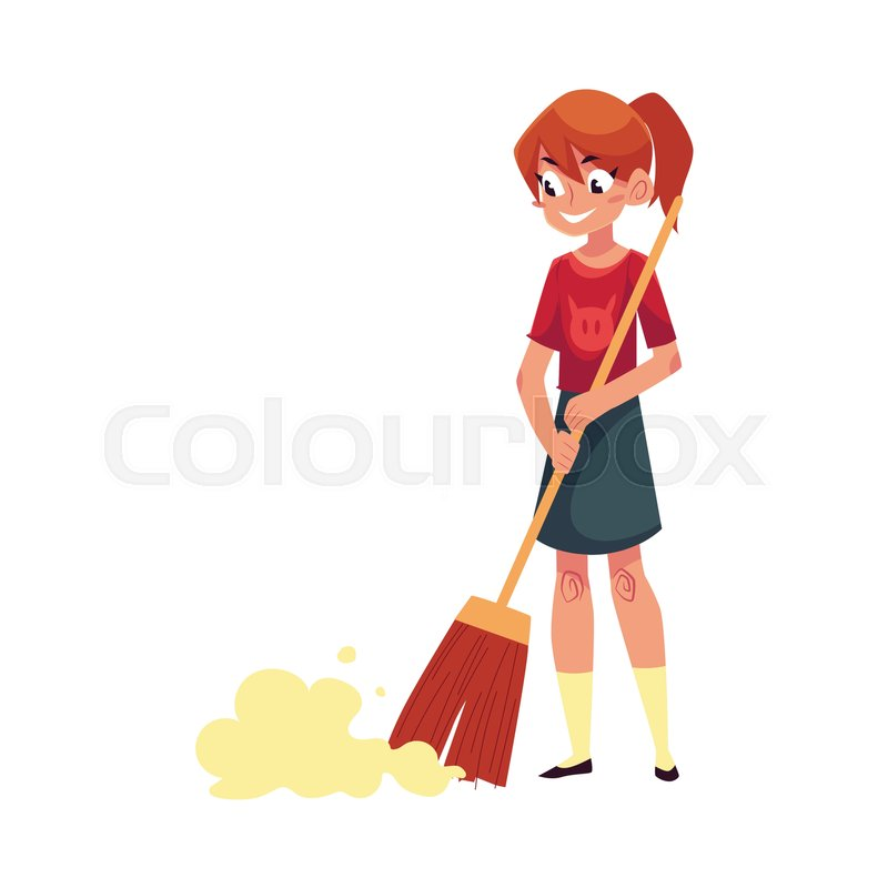 teenage girl helping to clean the stock vector colourbox teenage girl helping to clean the