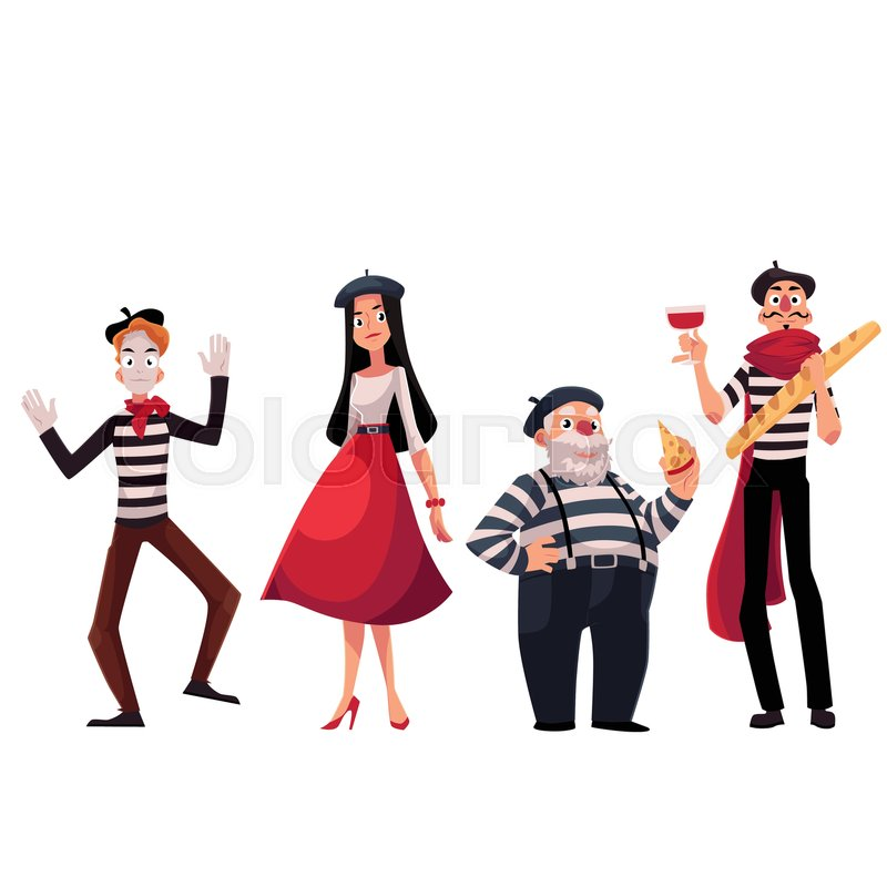 Set Of French Male And Female Characters Mimes Holding Cheese