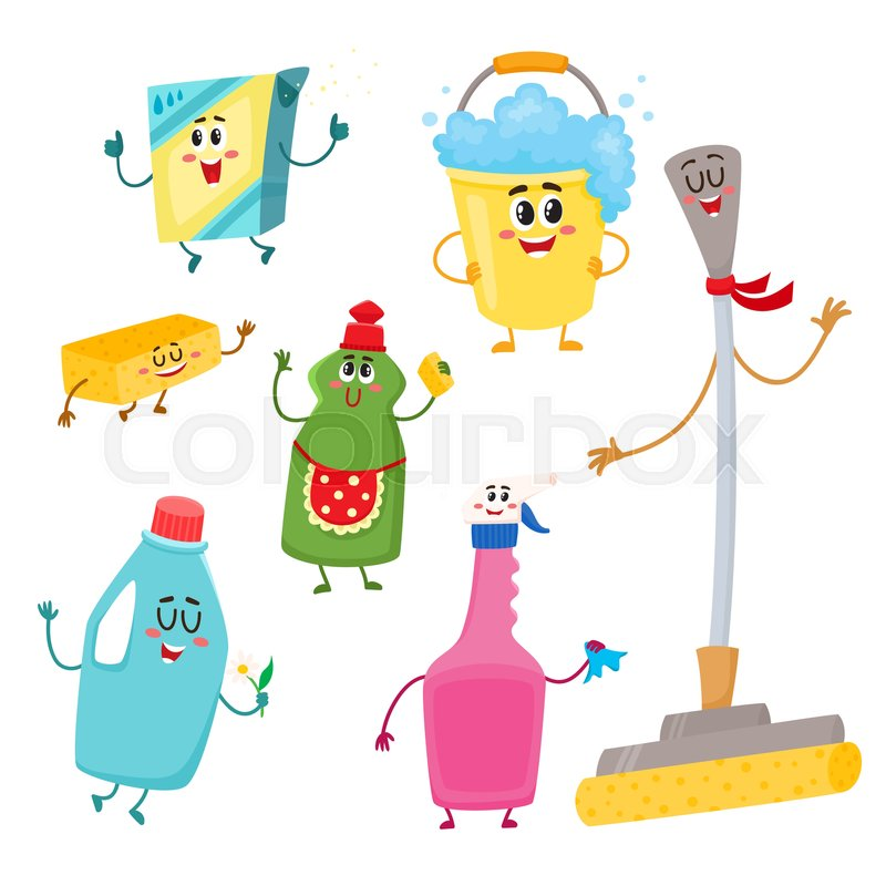 Set Of Funny House Cleaning Characters Detergents