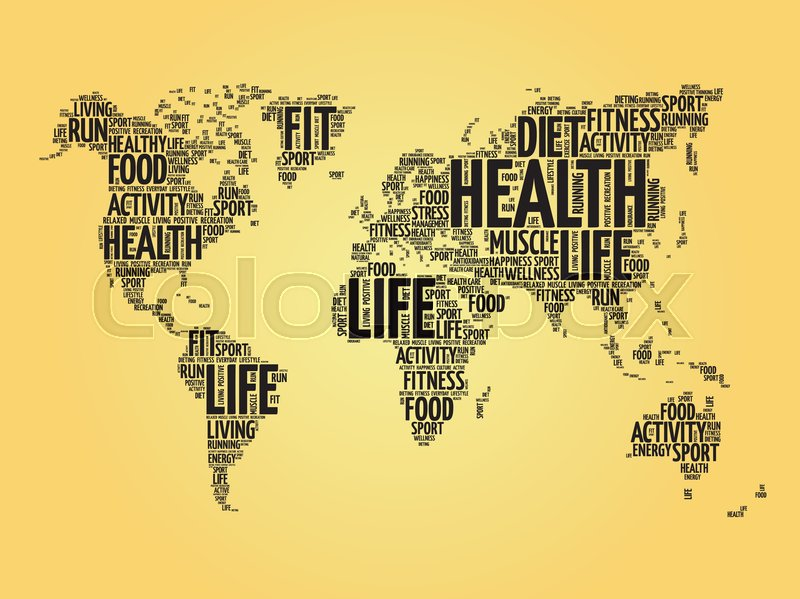 Health and life world map in typography sport health fitness word health and life world map in typography sport health fitness word cloud concept vector stock images page everypixel gumiabroncs Gallery
