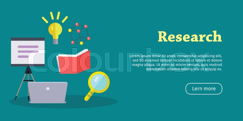research web banner laboratory banner with laptop magnifier book