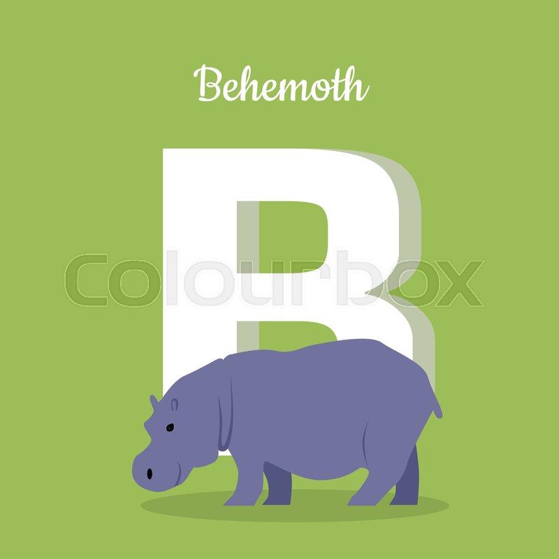 animal alphabet. letter - b. blue behemoth stands near letter