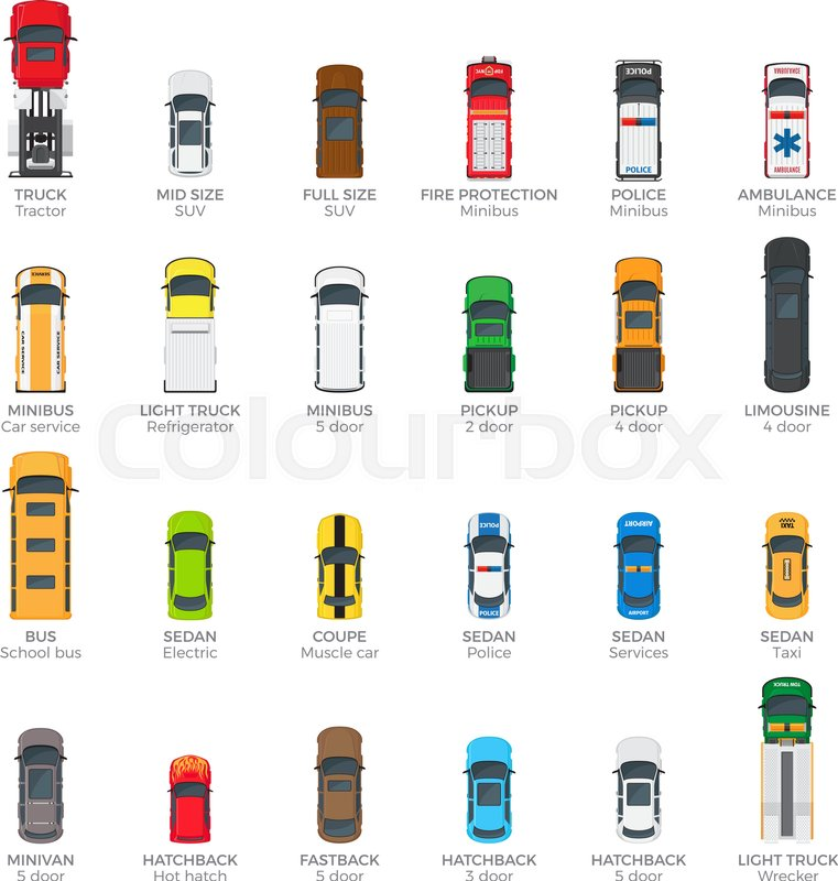 Collection Of Various Kinds Of Car Body Icons In Flat
