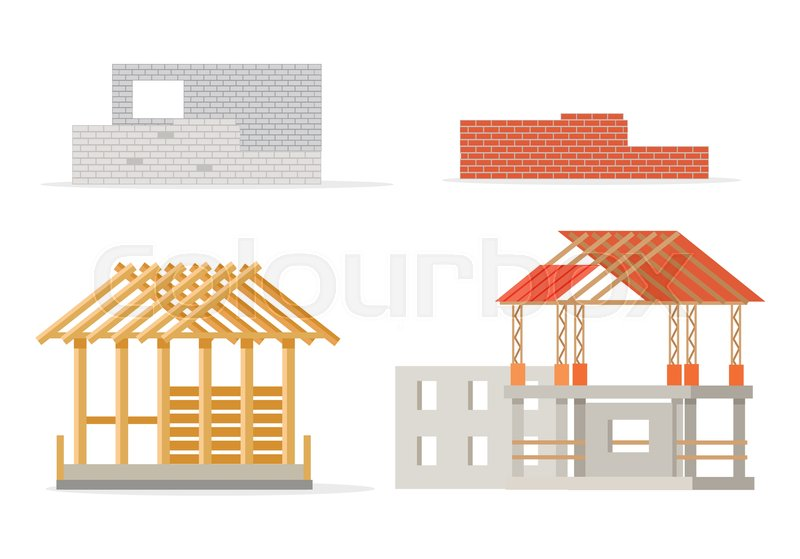 Industrial process of building new house. Stages of constructing ...