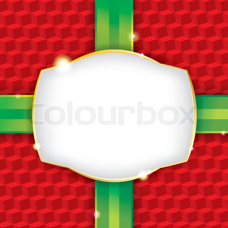 a wrapped christmas present wrapping paper background with a blank label vector eps 10 file contains transparencies and a gradient mesh