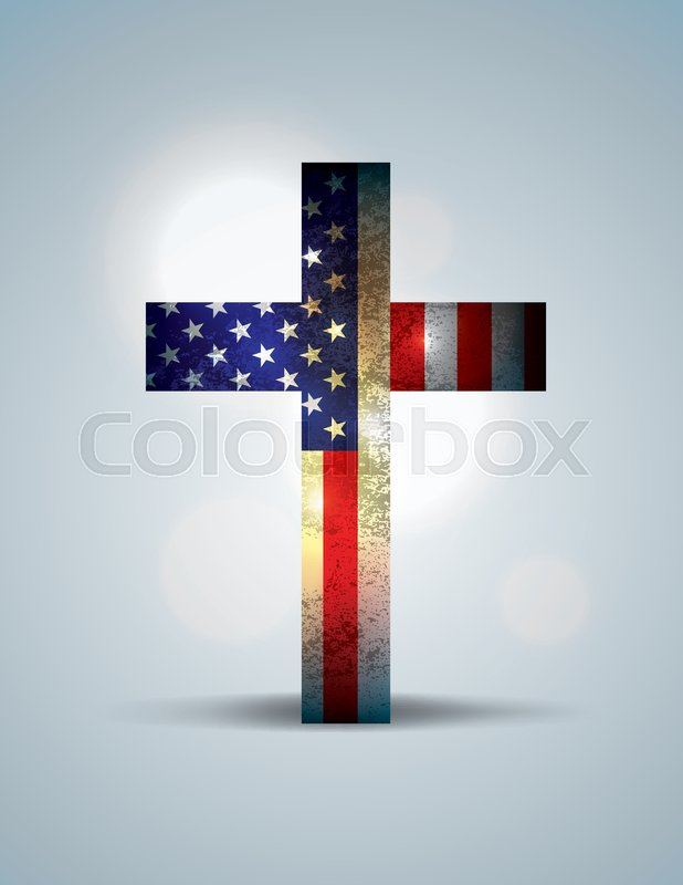 A christian cross comprised of the American Flag. Religious patriotic theme. Vector EPS 10 available. EPS file contains transparencies and gradient mesh, vector