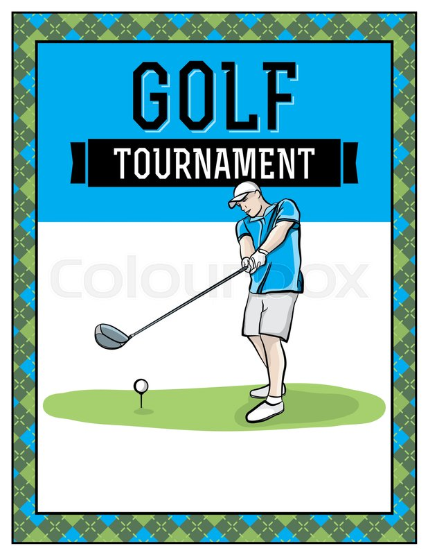 A Golf Tournament Flyer Template Illustration Room For Copy Vector