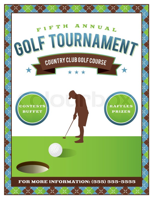 a template for a golf tournament scramble invitation flyer vector eps 10 available stock. Black Bedroom Furniture Sets. Home Design Ideas