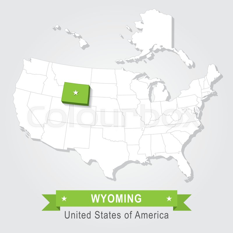 Wyoming state. USA administrative map.   Stock vector ...