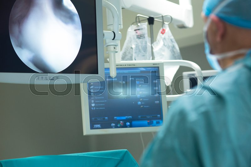 Hospital ward emergency room operating theater and modern equipment including computer monitor tv screen, stock photo