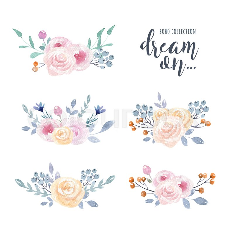 Set of watercolor boho floral bouquets. ... | Stock image ...