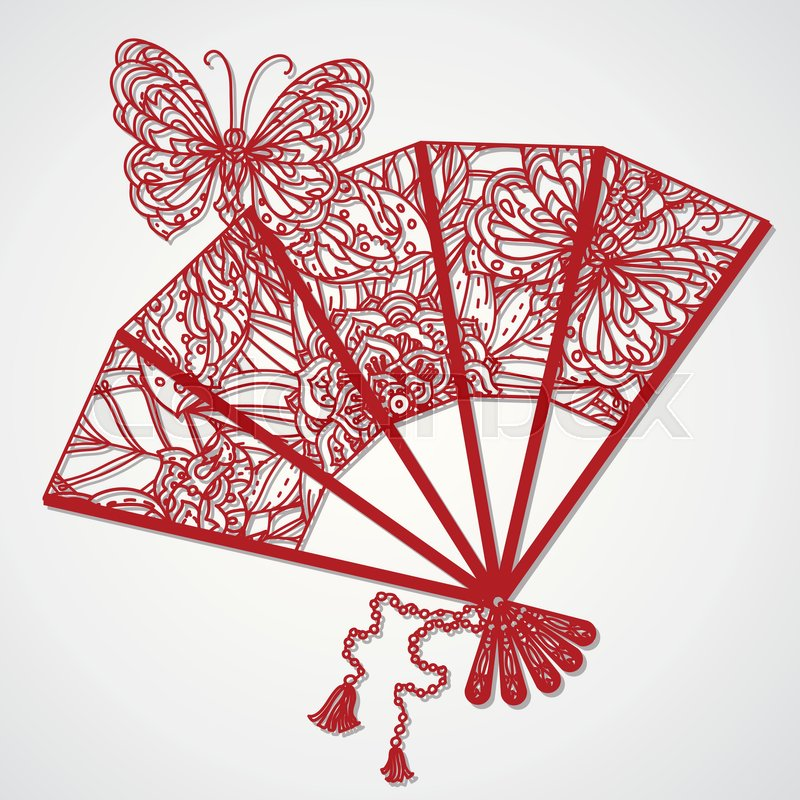 vector card laser cut template cutout silhouette decorated with an openwork fan vintage decorative elements hand drawn background islam arabic indian