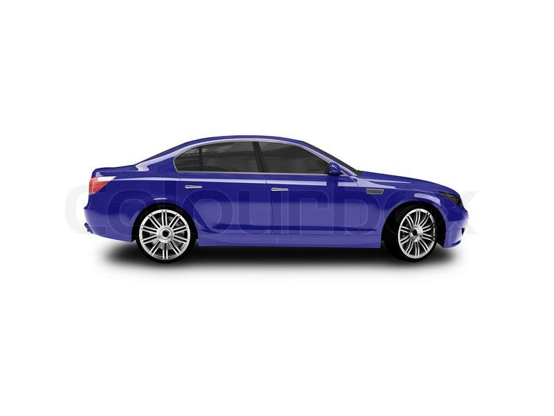 Blue Car On A White Background Stock Photo Colourbox