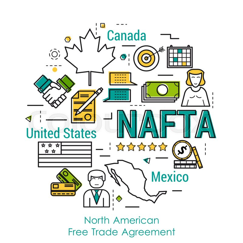 Vector Line Art Round Infographic Of Nafta Concept With Three
