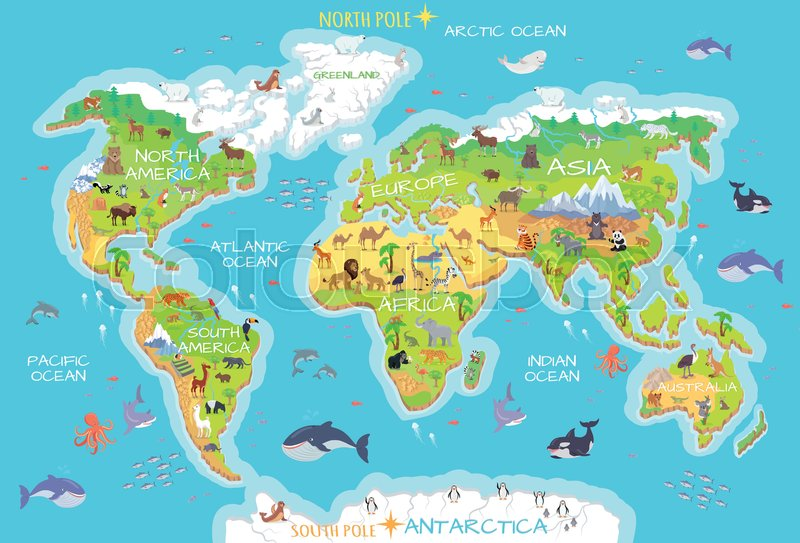 World geographical map with flora and fauna Animals of land