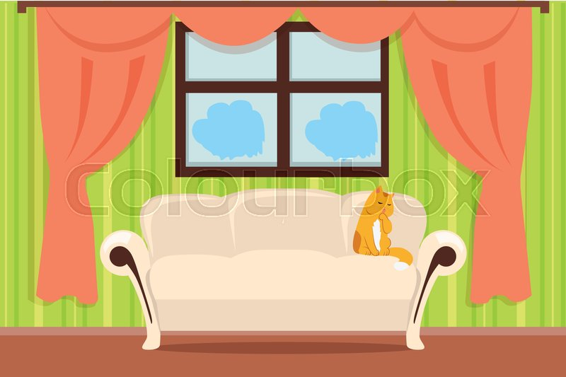 Apartment interior concept vector. Flat style. Room view with cat ...