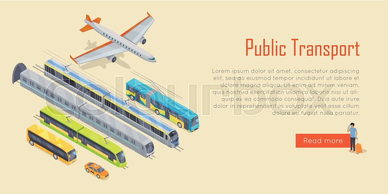 Transport infographic. Public transport. Plane. Bus. Trolleybus. Electric train. Metro train. Trum public transport. Statistics of transport usage. Transport system concept Vector, vector