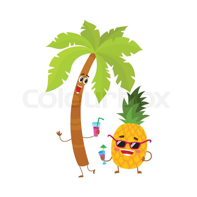 Cute and funny pineapple and tropic ... | Stock Vector ...
