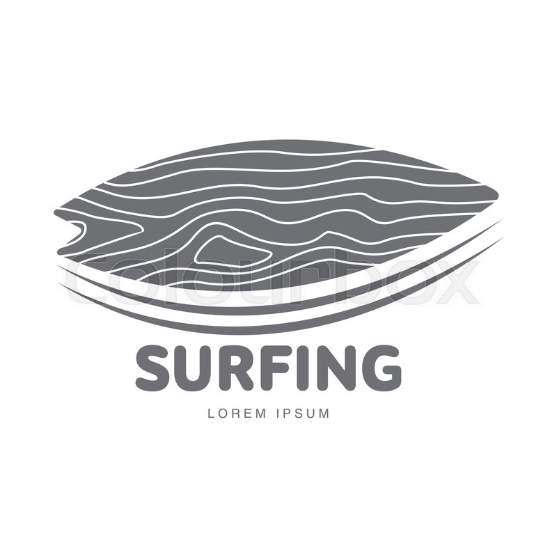 Black and white graphic surfing logo template with surfboard leaning ...