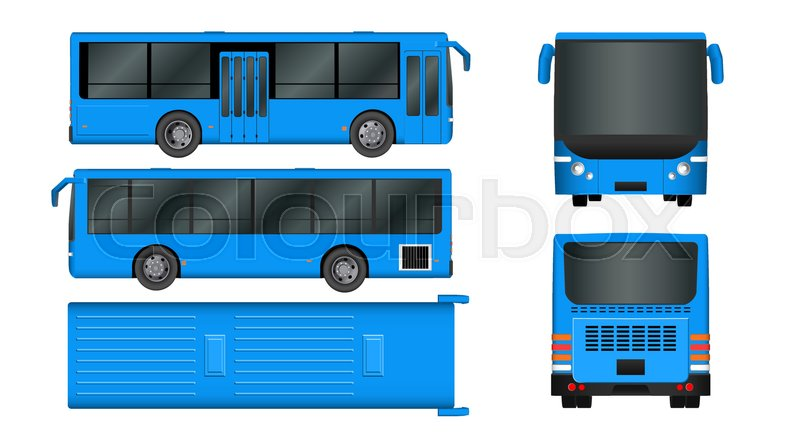 City Bus Template Passenger Transport Stock Vector