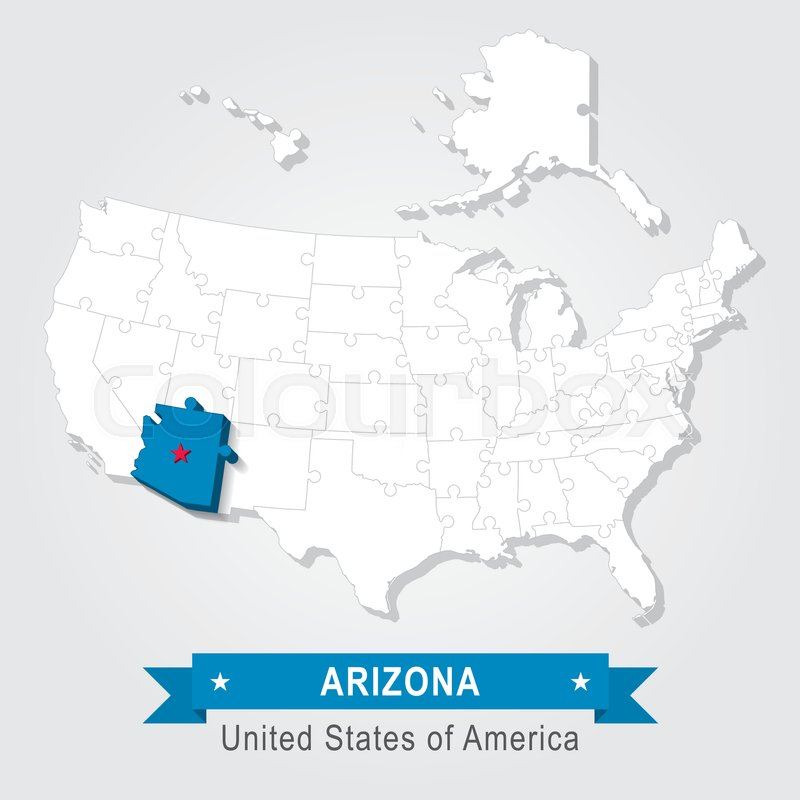 Arizona state marked on white USA map. | Stock vector | Colourbox