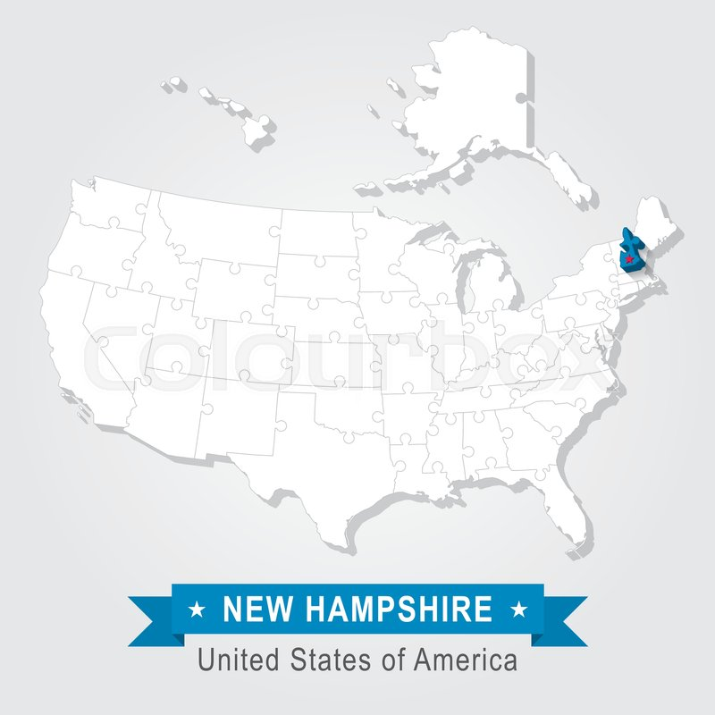 New Hampshire State Marked On White Stock Vector Colourbox