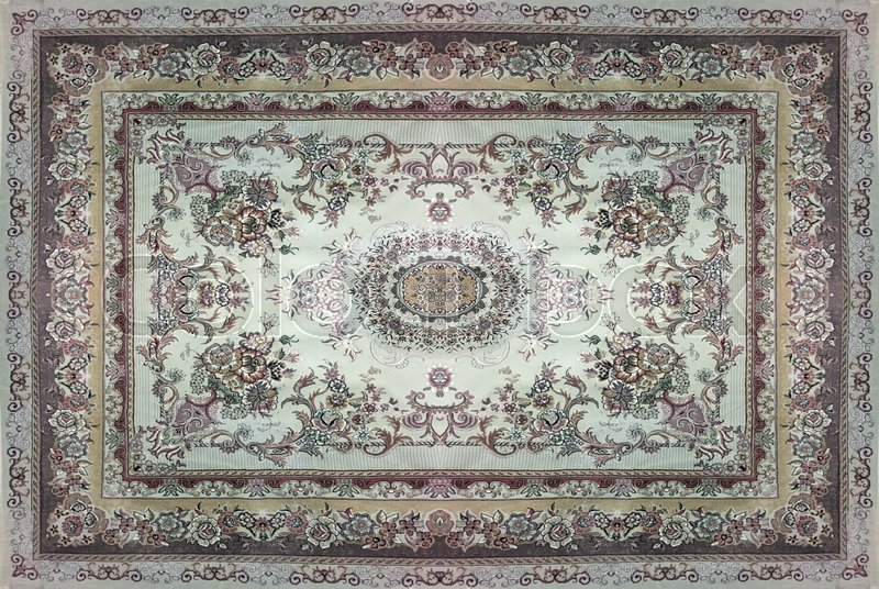 Persian Carpet Texture Abstract Ornament Round Mandala Pattern Middle Eastern Traditional Fabric Turquoise Milky Blue Grey Brown Yellow
