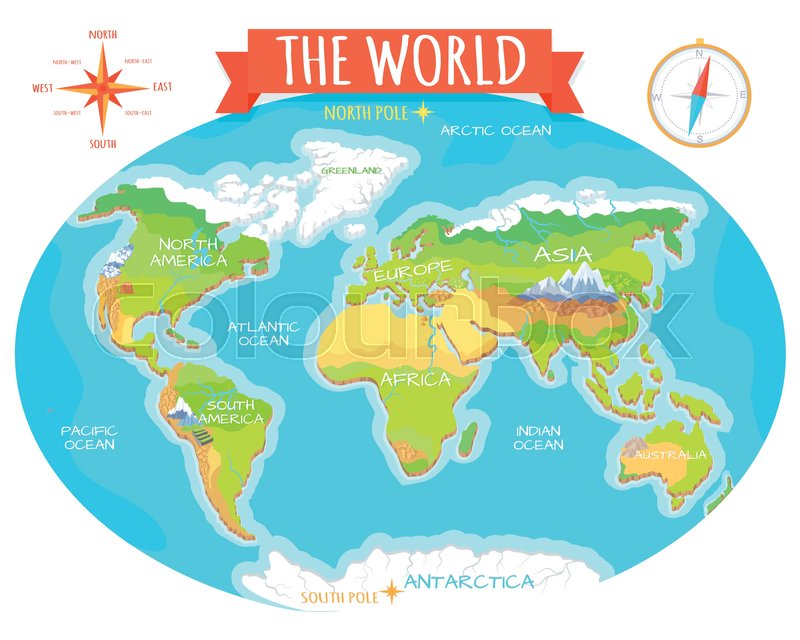 The World geographical map Names of continents oceans North and