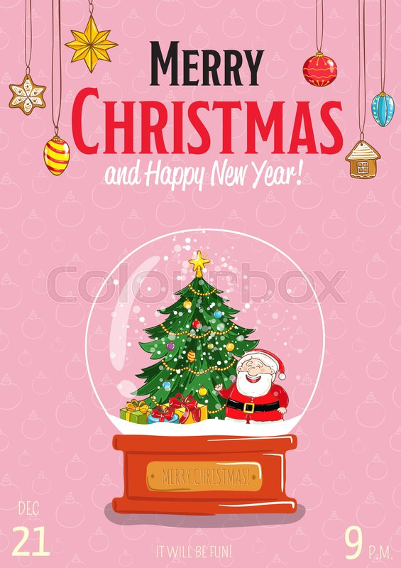 Christmas Date.Christmas Party Promo Poster With Date Stock Vector
