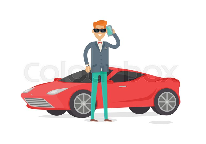 Genial Rich Man In Expensive Suit Standing Near Red Coupe Car Isolated On White.  Handsome Guy In Stylish Clothes Near His Cool Car. Young Male In Glasses  And ...