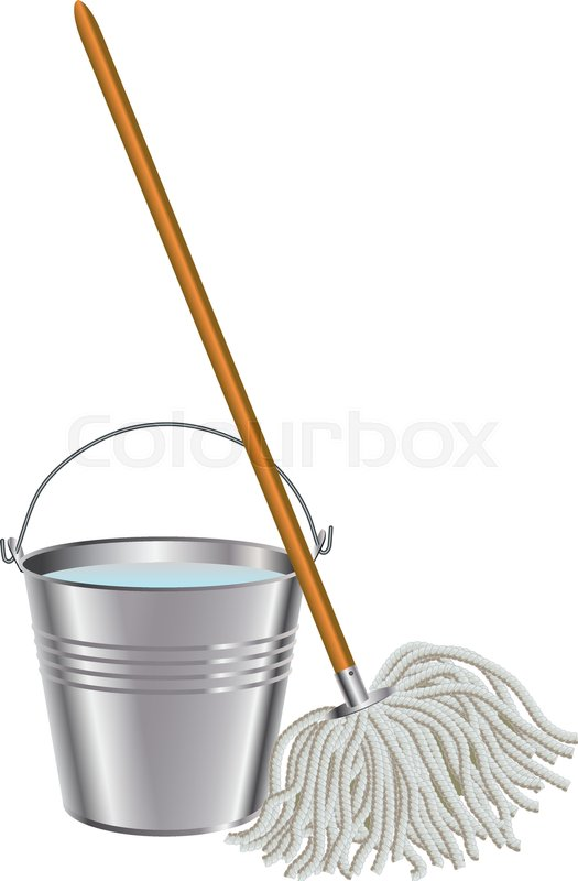 Mop And Bucket Stock Vector Colourbox